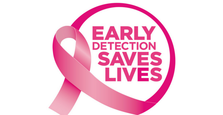 A Pink Cancer Ribbon Depicting Early Detection Saves Lives