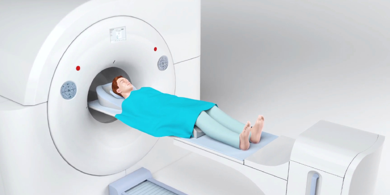 A man vector lying on the PET scan machine for undergoing the scan process.